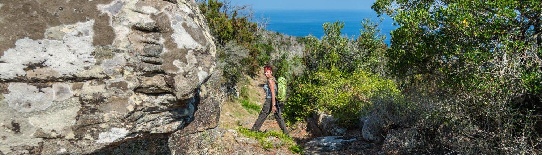 wandern mit Meerblick auf der Insel Giglio
