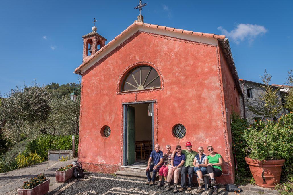 Rast beim Wandern, bei San Sebastiano oberhalb von Portofino