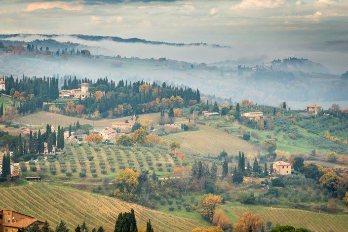 Wandern in Italien: Morgenstimmung in der Toskana