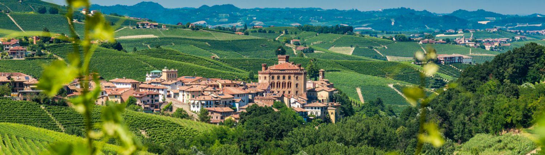 Piemont, Barolo, umgeben von seinen beruehmten Weinbergen