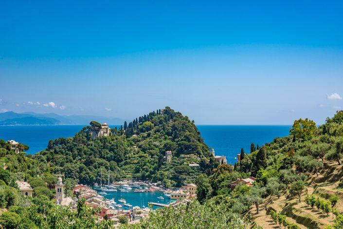 Ausblick über Portofino vom Landgut Niasca aus