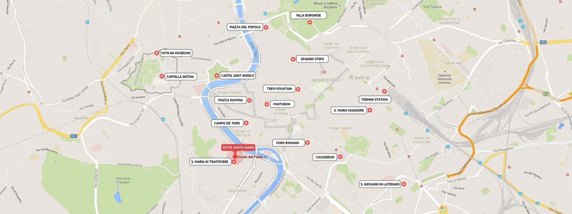 karte mit lage des hotels santa maria in trastevere